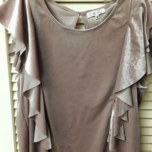 Velvet Ruffle Cream Rose Gold Boho Top Blouse M